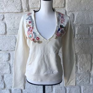 Lucky Brand Cream Embroidered Hooded Top